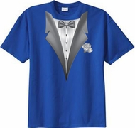 Tuxedo T-shirt With White Flower - Royal Blue