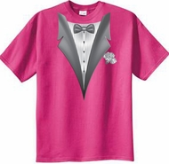 Tuxedo T-shirt With White Flower - Sangria