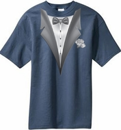 Tuxedo T-shirt With White Flower - Steel Blue