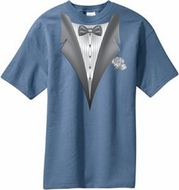 Tuxedo T-shirt with White Flower - Stonewashed Blue