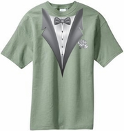 Tuxedo T-shirt With White Flower - Stonewashed Green
