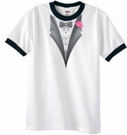 Tuxedo T-Shirts Ringer with Pink Flower