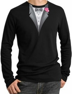 Tuxedo T-Shirts Thermal Long Sleeve With Pink Flower