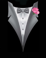Tuxedo T-shirts With Pink Flower