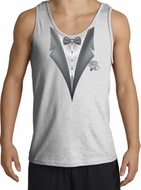 Tuxedo Tank Top with White Flower - Ash