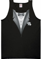 Tuxedo Tank Top with White Flower - Black