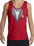 Tuxedo Tank Top with White Flower - Red
