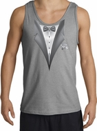Tuxedo Tank Top with White Flower - Sports Grey