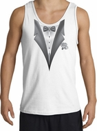 Tuxedo Tank Top with White Flower - White