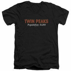 Twin Peaks Slim Fit V-Neck Shirt Population 2 Black T-Shirt