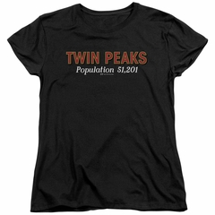 Twin Peaks Womens Shirt Population 2 Black T-Shirt