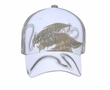 Two Tone Hat with Screen Print and Ribbon - Lackpard Cap - Gray