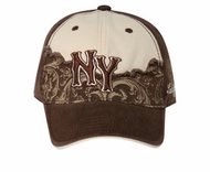 Two Tone New York Hat - 3D Lackpard Distressed Cap - Dark Brown