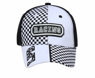 Two Tone Racing Hat with Rubber Patch - Lackard Checkered Cap - Black