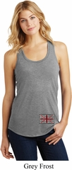 Union Jack Patch Bottom Print Ladies Racerback Tank Top