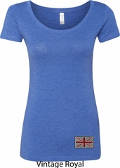 Union Jack Patch Bottom Print Ladies Scoop Neck Shirt