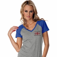 Union Jack Patch Pocket Print Ladies Contrast V-Neck Shirt
