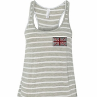 Union Jack Patch Pocket Print Ladies Flowy Racerback Tanktop