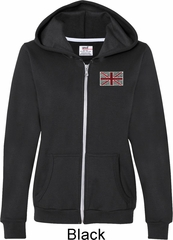 Union Jack Patch Pocket Print Ladies Full Zip Hoodie