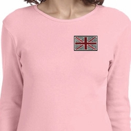 Union Jack Patch Pocket Print Ladies Long Sleeve Shirt