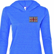 Union Jack Patch Pocket Print Ladies Tri Blend Hoodie Shirt