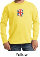 Union Jack Shirt British UK Flag Small Print Youth Long Sleeve Shirt