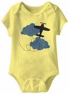 Up In The Air Funny Baby Romper Yellow Infant Babies Creeper