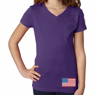 US Flag Bottom Print Girls V-Neck Shirt