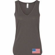 US Flag Bottom Print Ladies Flowy V-neck Tank Top