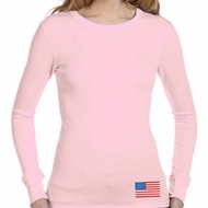 US Flag Bottom Print Ladies Long Sleeve Thermal Shirt