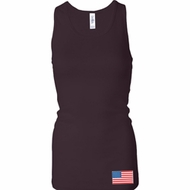 US Flag Bottom Print Ladies Longer Length Racerback Tank Top