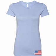 US Flag Bottom Print Ladies Longer Length Shirt