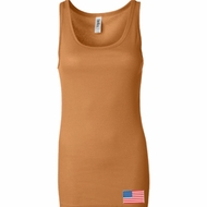 US Flag Bottom Print Ladies Longer Length Tank Top