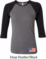 US Flag Bottom Print Ladies Raglan Shirt