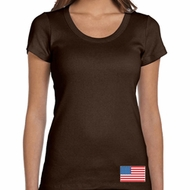 US Flag Bottom Print Ladies Scoop Neck Shirt
