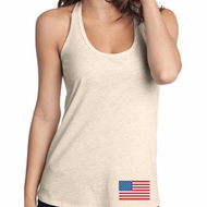US Flag Bottom Print Ladies T-Back Tank Top