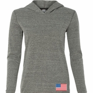 US Flag Bottom Print Ladies Tri Blend Hoodie Shirt