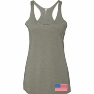 US Flag Bottom Print Ladies Tri Blend Racerback Tank Top
