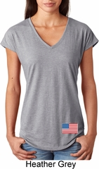 US Flag Bottom Print Ladies Tri Blend V-Neck Shirt