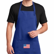 US Flag Pocket Print Full Length Apron with Pockets
