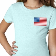 US Flag Pocket Print Girls Shirt