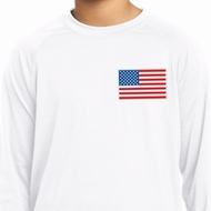 US Flag Pocket Print Kids Dry Wicking Long Sleeve Shirt
