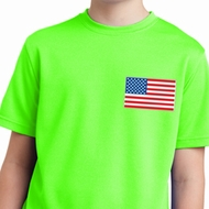 US Flag Pocket Print Kids Moisture Wicking Shirt
