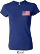 US Flag Pocket Print Ladies Crewneck Shirt