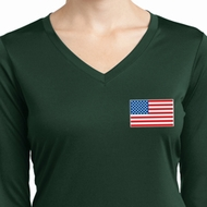 US Flag Pocket Print Ladies Dry Wicking Long Sleeve Shirt