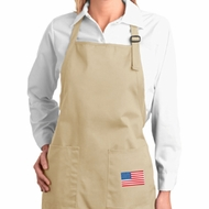 US Flag Pocket Print Ladies Full Length Apron with Pockets