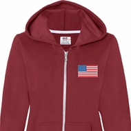 US Flag Pocket Print Ladies Full Zip Hoodie