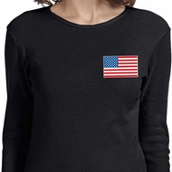 US Flag Pocket Print Ladies Long Sleeve Shirt