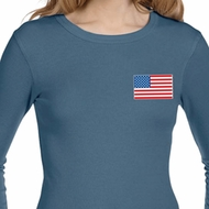 US Flag Pocket Print Ladies Long Sleeve Thermal Shirt