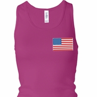 US Flag Pocket Print Ladies Longer Length Racerback Tank Top